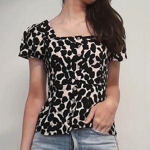 Linen square neck blouse